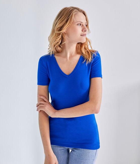 Women's original rib V-neck T-shirt Perse blue