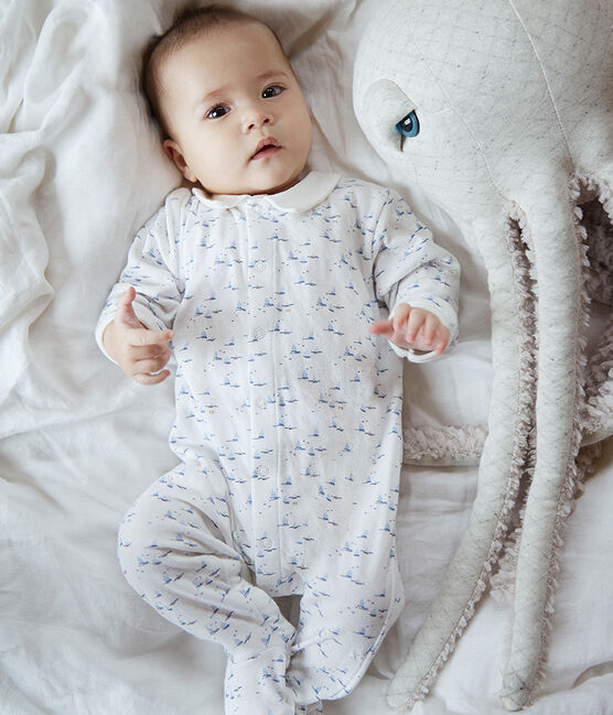 Baby Boys' Tube Knit Sleepsuit Marshmallow white / Multico white