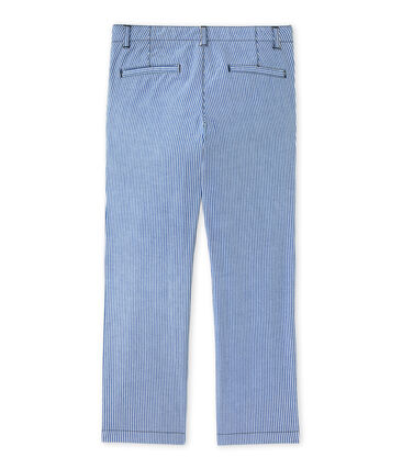 Boys' striped chino trousers Surf blue / Ecume white