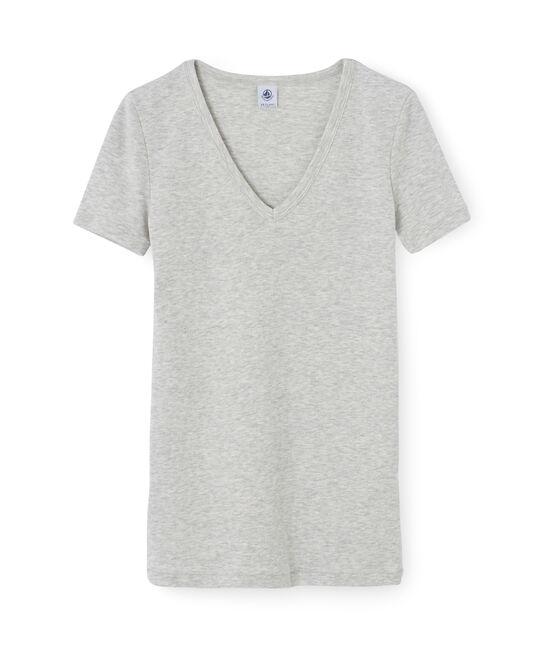 Women's short-sleeved v-neck iconic t-shirt Poussiere Chine grey