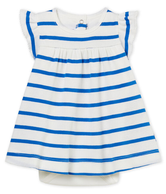 Baby girls' striped dress/bodysuit Marshmallow white / Cool blue