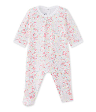Baby girl's sleepsuit in a floral double knit Ecume white / Multico white