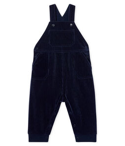 Baby Boys' Long Dungarees in Ribbed Velour Knit