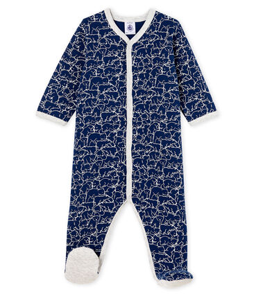 Baby Boys' Fleece Sleepsuit Major blue / Marshmallow white