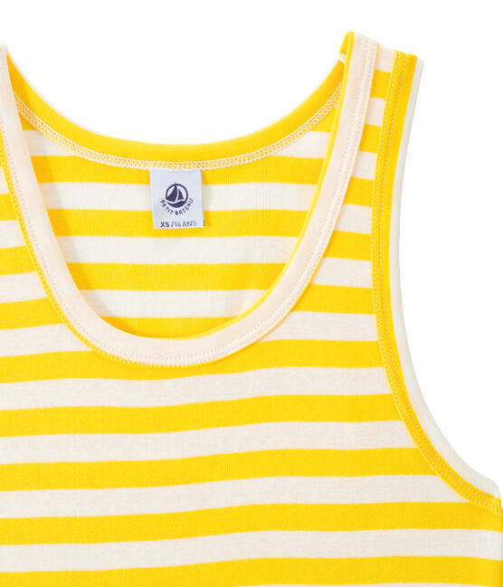 Women's vest top in heritage striped rib Shine yellow / Marshmallow white