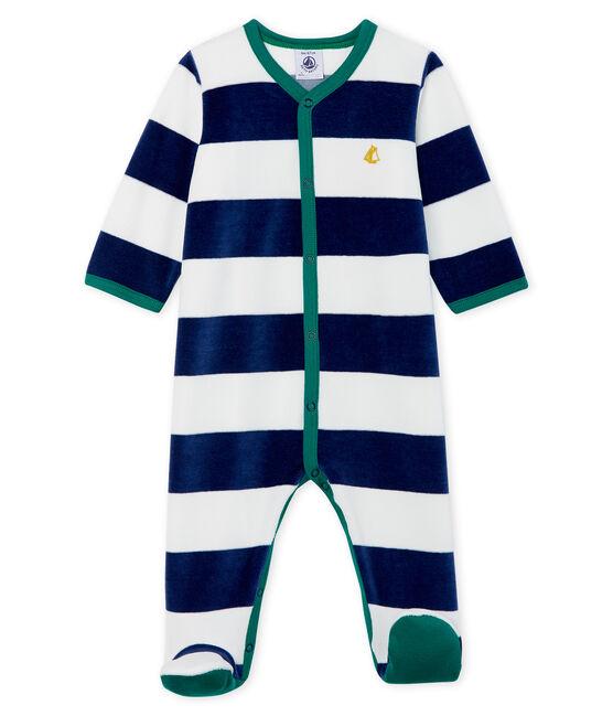 Baby Boys' Velour Sleepsuit Medieval blue / Marshmallow white