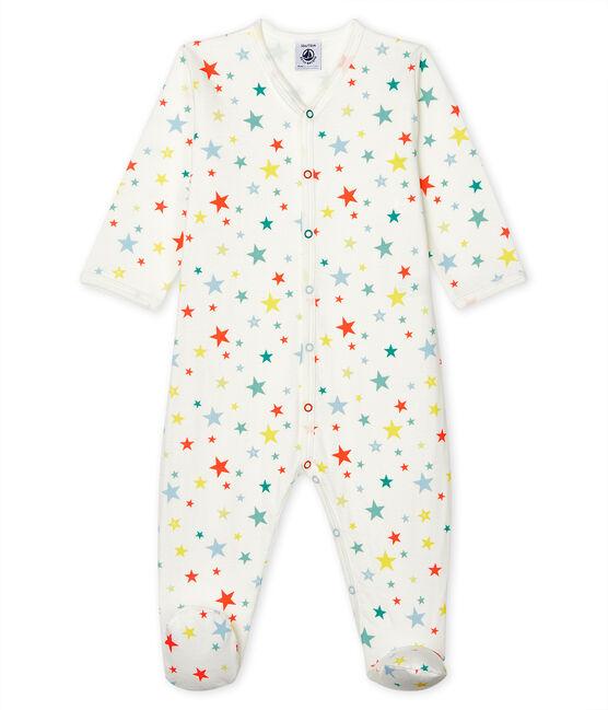 Unisex Baby's Tube Knit Sleepsuit Marshmallow white / Multico white