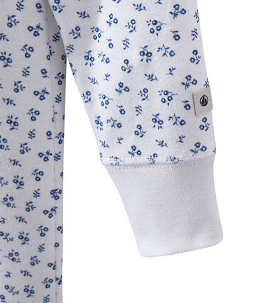 Girl's print jumpsuit pyjamas Ecume white / Bleu blue