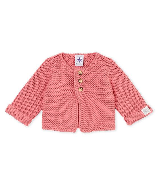 unisex baby's garter stitch cardigan Cheek pink