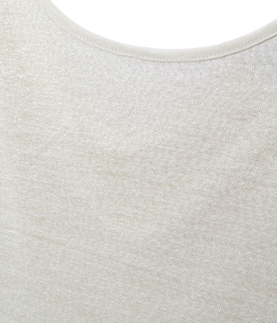 Women's iridescent linen tee with cowl neck at the back Lait white / Or yellow