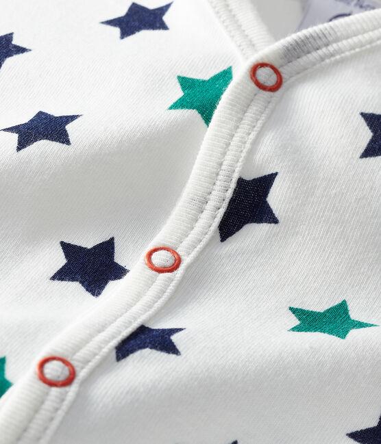 Baby Boys' Linen/Cotton Playsuit Marshmallow white / Multico white