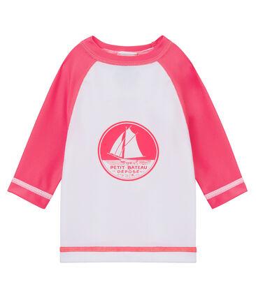 Unisex baby's sun protection t-shirt Marshmallow white / Cupcake pink