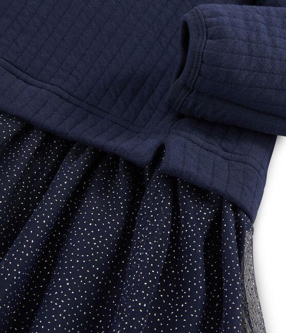 Girls' Dual-Fabric Dress SMOKING