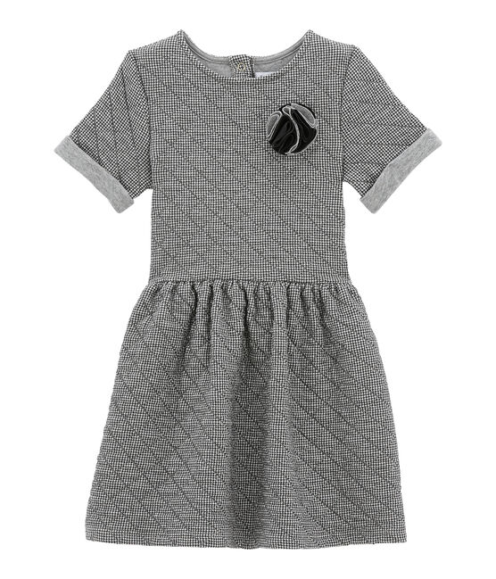 Girl's short sleeved dress Capecod grey / Marshmallow white