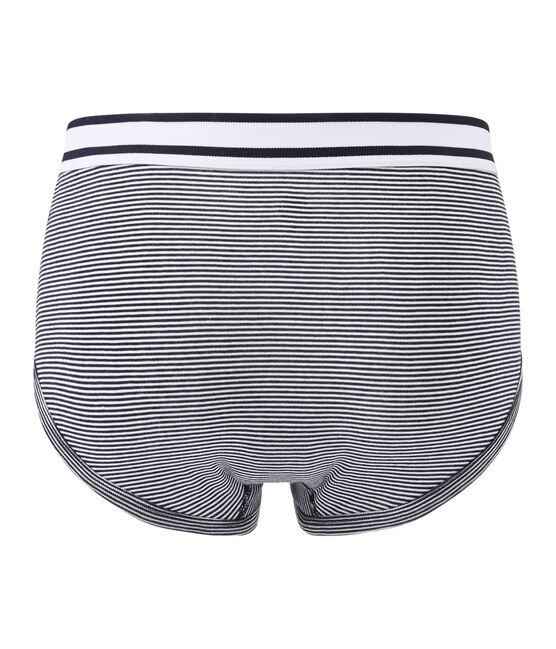 men's milleraie striped briefs Smoking blue / Marshmallow white
