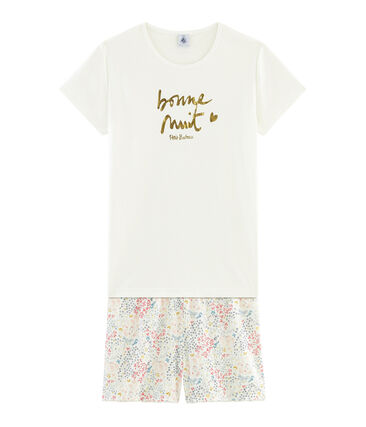 Girls' Ribbed Cropped Pyjamas Marshmallow white / Multico white