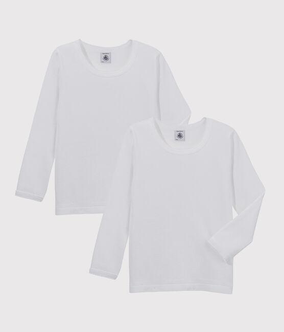 Set of 2 girls' long-sleeved white t-shirts . set