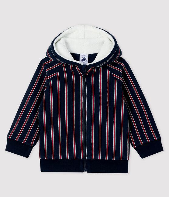 Baby boy's hooded sweatshirt Smoking blue / Multico white