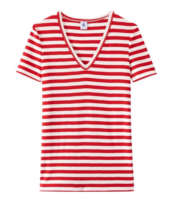 Women's striped original rib V-neck T-shirt Terkuit red / Marshmallow white