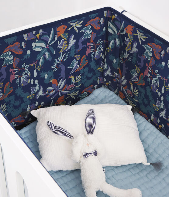 Babies' Jungle Print Ribbed Cot Bumper Medieval blue / Multico white