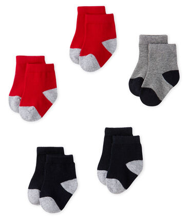 Set of 5 pairs of socks for baby boys Smoking blue / Terkuit red