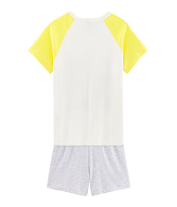 Boys' Ribbed Short Pyjamas Marshmallow white / Multico white