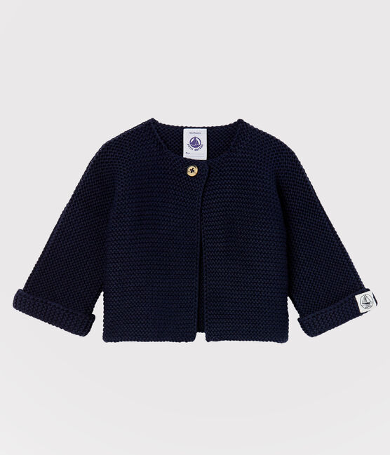 Babies' Organic Cotton Knit Cardigan Smoking blue