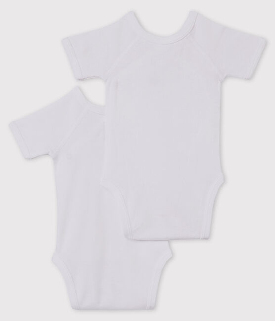 Set of 2 babies' white short-sleeved newborn bodysuits . set
