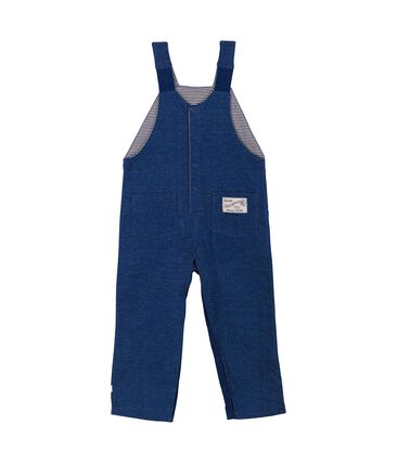 Unisex baby long dungarees in denim look jersey Medieval blue / Ecru Cn beige