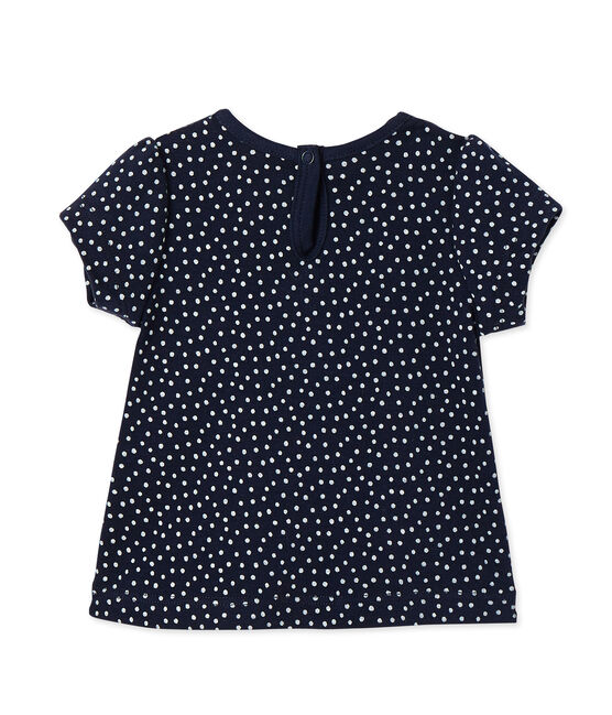 Baby girls' printed tee Smoking blue / Lait white