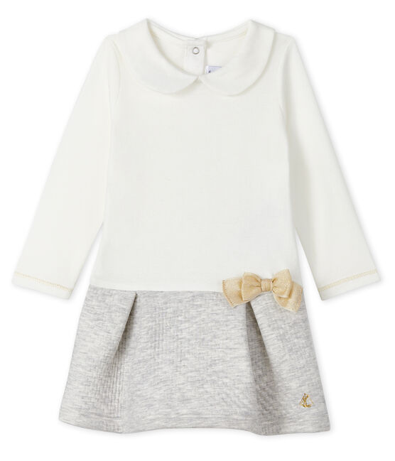 Baby Girls' Long-Sleeved Dual Material Dress Marshmallow white / Beluga grey