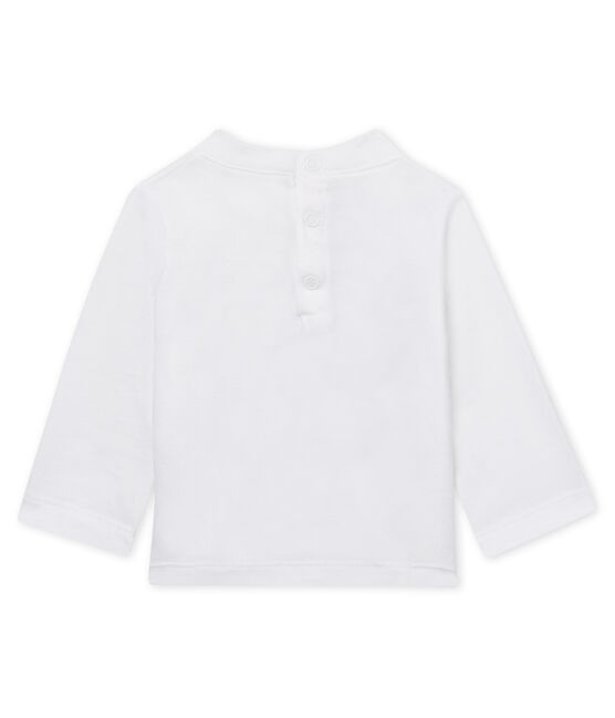 Unisex baby's long-sleeved flocked T-shirt Marshmallow white
