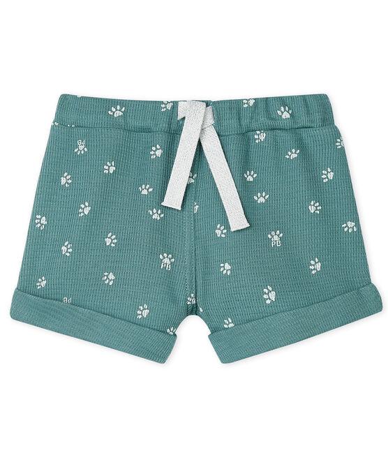 Unisex Baby's Print Knit Shorts Brut blue / Marshmallow white