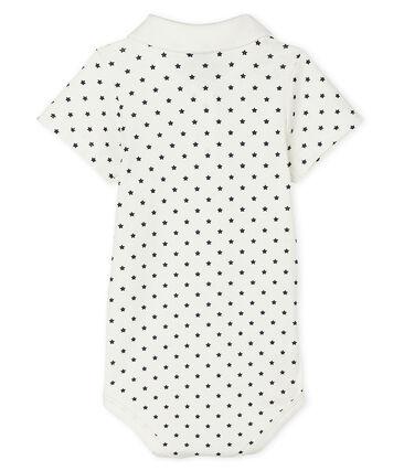 Baby Boys' Print Bodysuit with Polo Shirt Collar Marshmallow white / Smoking blue