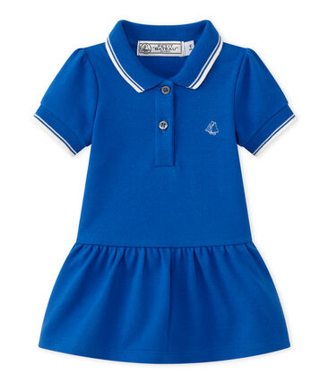 Baby girl's short-sleeved dress Perse blue