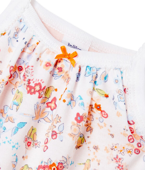 Body robe bébé fille à bretelles Ecume white / Cupcake pink