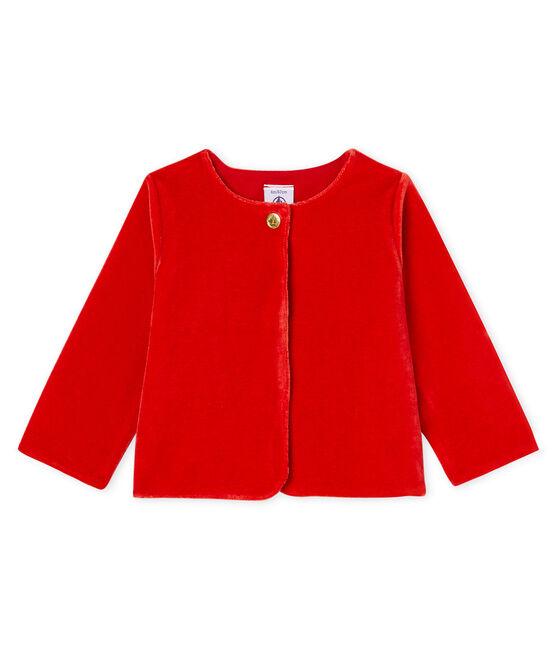 Baby Girls' Velour Knit Cardigan Terkuit red