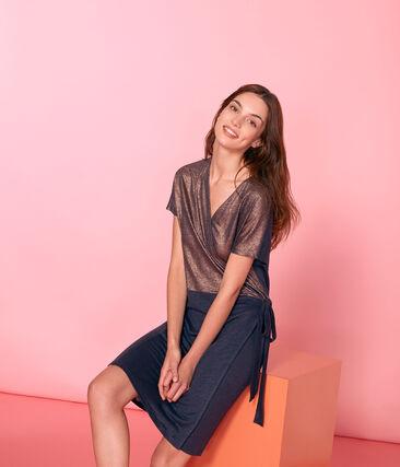 Women's iridescent linen short-sleeved dress Smoking blue / Copper pink