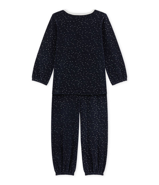 Girl's terry velour pyjamas Smoking blue / Argent grey