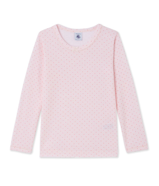 Girl's long-sleeved T-shirt in wool and cotton Vienne pink / Gretel pink