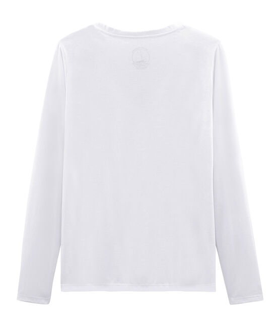 Women's long-sleeved sea island cotton t-shirt Ecume white