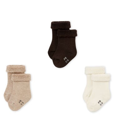 Set of 3 pairs of unisex baby's plain socks