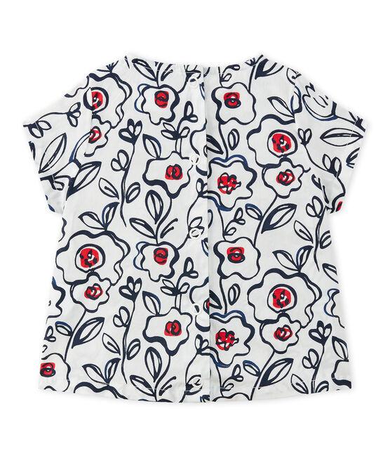 Baby girl's poplin blouse. Marshmallow white / Multico white