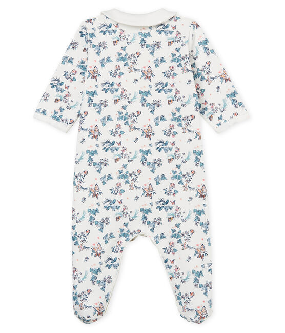 Baby Girls' Velour Sleepsuit Marshmallow white / Multico white