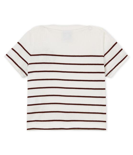Baby boys' striped t-shirt Marshmallow white / Vino red