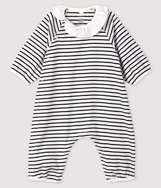 Baby Girls' Stripy Ribbed Jumpsuit Marshmallow white / Smoking blue