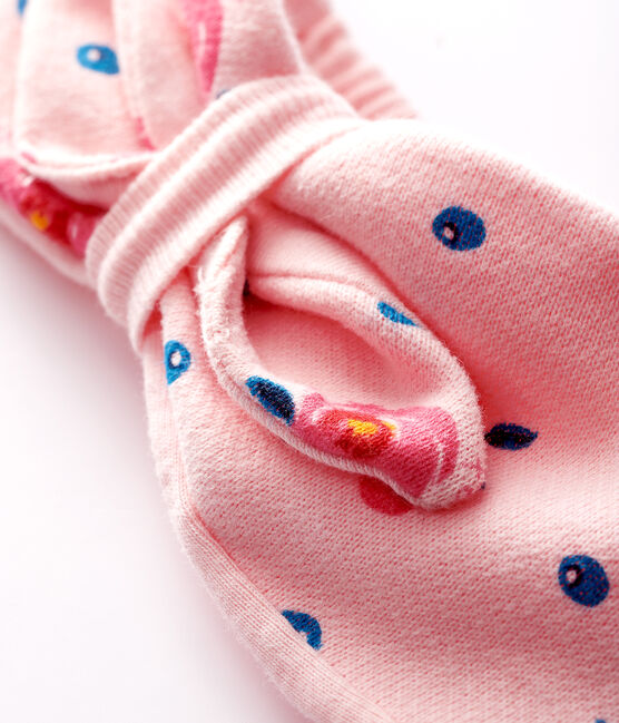Baby girl's bow headband Minois pink / Multico white
