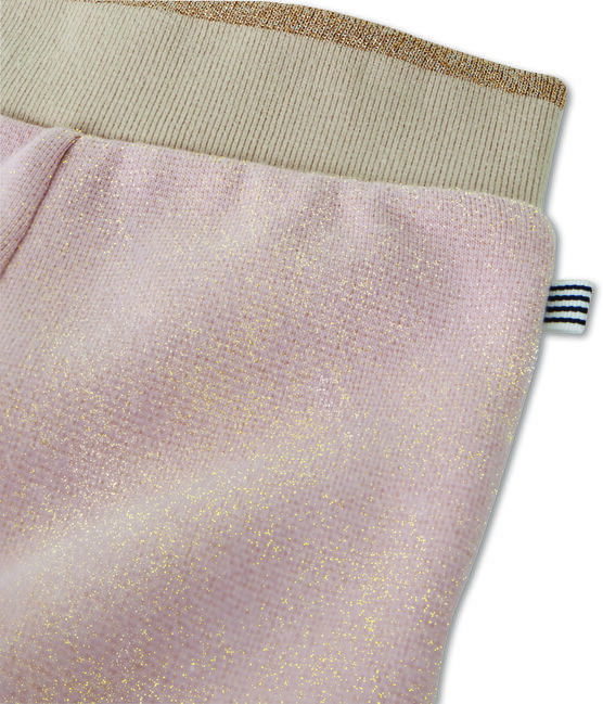 Baby girl's shiny cotton sweatshirt trousers Joli pink / Dore yellow