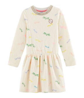 Girls' Dress Coquille beige / Multico white