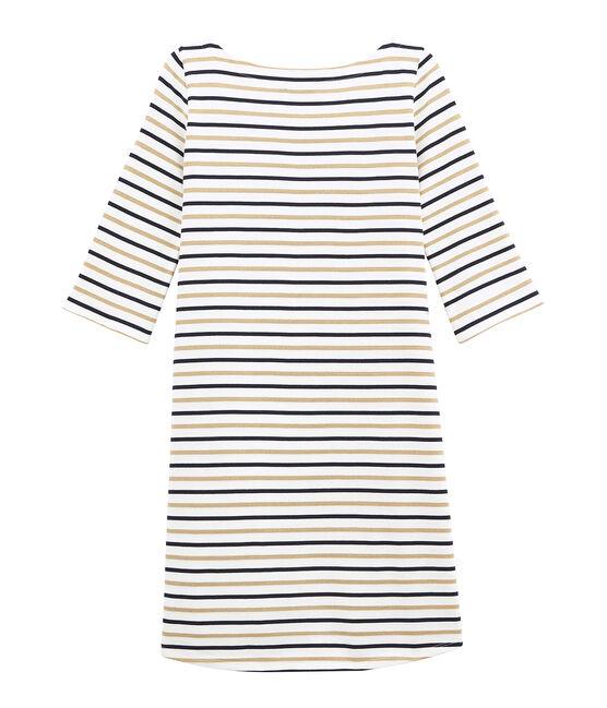 women's flared breton dress in three colour stripes Marshmallow white / Smoking blue